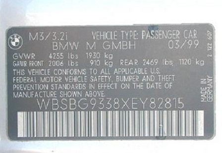Табличка с VIN-кодом автомобиля