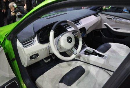 Интерьер Skoda Vision C на Женевском автосалоне 2014