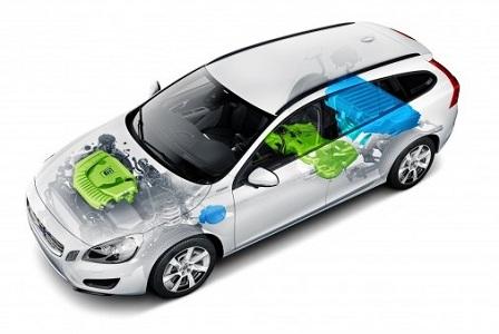 Расположение силовой установки Volvo V60 Plug-in Hybrid