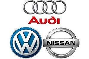 Логотипы Audi Volkswagen Nissan