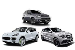 Гибриды Mitsubishi Outlander PHEV, Mercedes-Benz GLE 500E, Porsche Cayenne S E-Hybrid