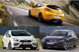 Горячие хэтчбеки Volkswagen Golf GTI, Renault Megane RS, Kia C'eed GT