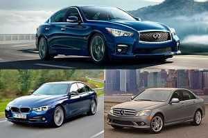 Заднеприводные автомобили BMW 318i, Infiniti Q50, Mercedes-Benz C180