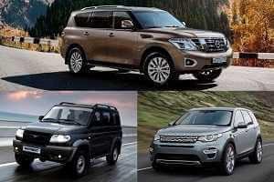 Внедорожники УАЗ Патриот, Land Rover Discovery, Nissan Patrol