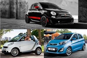Автомобили А-класса Kia Picanto, Fiat 500 и Smart Fortwo