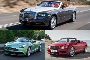 Кабриолеты Bentley Continental GT V8 S, Aston Martin Vantage Volante, Rollse Roce Dawn