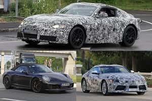 Спортивные машины 2018 года Porsche 911, Chevrolet Corvette, Toyota Supra