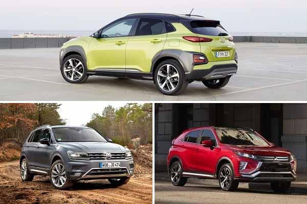 Компактные кроссоверы 2020 года Hyundai Kona, Volkswagen Tiguan, Mitsubishi Eclips Cross